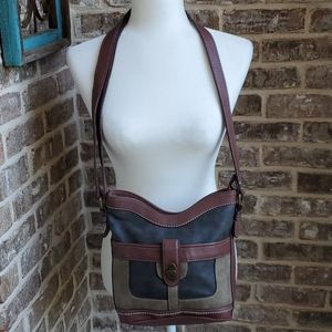 B.O.C Faux Leather 3 Tone Crossbody Bag